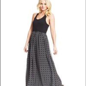 Black Patterned skirt maxi dress